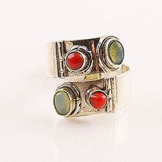 Ethiopian Opal & Coral Adjustable Sterling Silver Ring – Keja Designs Jewelry
