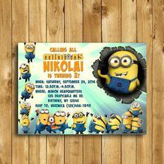 Minion Invitation Minion Birthday by VeronicaVaselinArts on Etsy