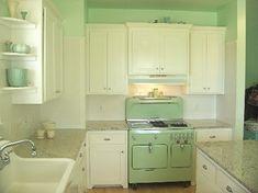 fancy vintage mint green kitchen