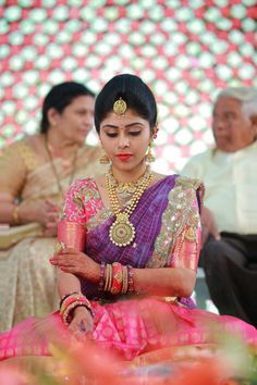 Haaram South Indian Blouse Designs, Bridal Blouse Designs, Half Saree Designs, Lehenga Designs, Half Saree Lehenga, Anarkali, Pink Lehenga, Half Saree Function, Saree Wearing Styles