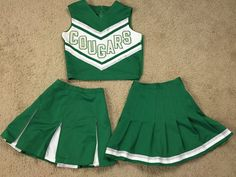 VINTAGE Cheerleader Uniform Green Cougars Top 2 Skirts