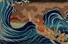 """Priest Nichiren calming a storm, from the life of Nichiren"", 1832.Priest Nichiren Calming a Storm Kuniyoshi, Utagawa 1797–1861.  Coloured woodcut"