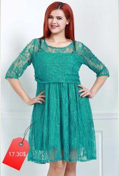Graceful Round Collar Half Sleeve Green Lace Dress For Women