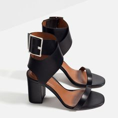 LEATHER SANDALS WITH BUCKLE from Zara