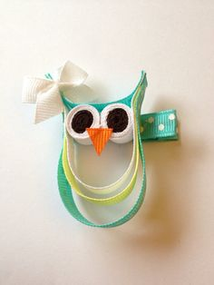 Aqua and Yellow Polka Dot Owl Clippie by ALittleLoveBoutique, $5.00