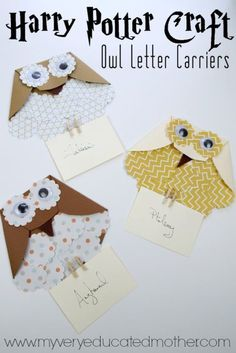 These super easy Harry Potter Owl Letter Holders make a great afternoon kids cra. - These super easy Harry Potter Owl Letter Holders make a great afternoon kids crafts. Harry Potter Letter, Harry Potter Thema, Classe Harry Potter, Cumpleaños Harry Potter, Theme Harry Potter, Harry Harry, Harry Potter Birthday Cards, Harry Potter Invitations, Owl Invitations