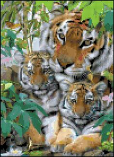 Tiger Mom and Young Cubs Cross Stitch Pattern Design Chart Feline Big Cat Wild Animal PDF Digital File Instant Download by theelegantstitchery on Etsy