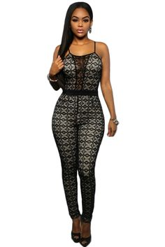 Black Lace Nude Illusion Keyhole Back Jumpsuit