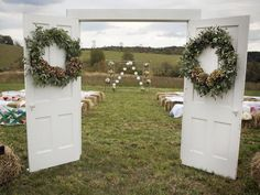 In love with this idea. Would be great to have my flower girls or brides maids close the doors while I walk there and then open it for me to walk thru for a big surprise on the grooms face.