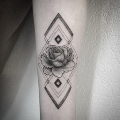 Geometric Rose Tattoo by Fanny