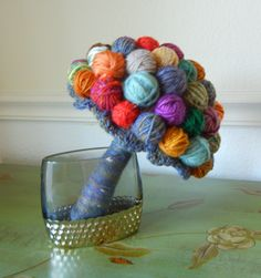 Yarn Ball Bouquet, Alternative Wedding Bouquet, Yarn Lover, Chunky Bouquet by SewManyPetals on Etsy https://www.etsy.com/listing/241780427/yarn-ball-bouquet-alternative-wedding