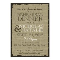 burlap rehearsal invitations -