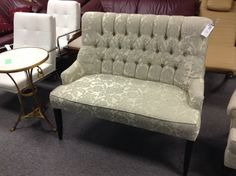 Settee - Tufted back, perfect condition.  Matches a 3 seat sofa we have.  Item 596-2.  Price $300.00    - http://takeitorleaveit.co/2014/09/22/settee-2/