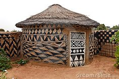 """African adobe hut-  we should all paint designs on our """"huts"""""""