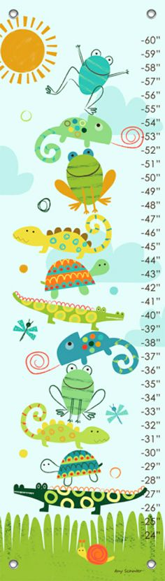 Oopsy Daisy Crawly Critters Growth Chart by Amy Schimler Safford, available at #polkadotpeacock. #peacocklove #oopsydaisy