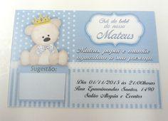 Convite para chá de bebê em papel couchê 180g. Padronizado com o nome da criança, com a data e o local.  *NÃO ACOMPANHA ENVELOPE*  Medida: 10x7cm    Quantidade mínima: 48 convites