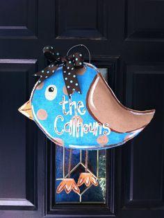 Bird burlap door hanger. Want this one for my classroom.