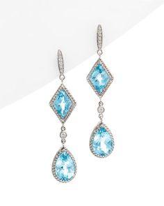 Blue Topaz and Diamond Earrings....gorgeous