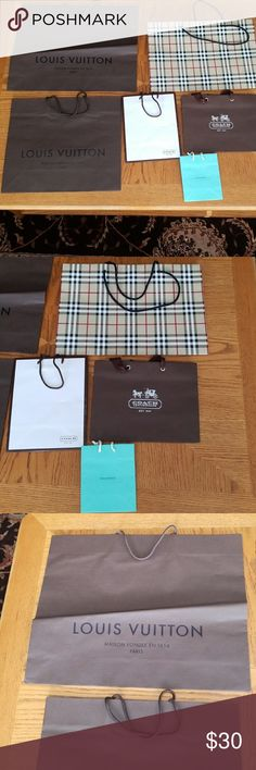Designer Shopping Bags Bundle 2 Louis Vuitton shopping bags, 2 Coach shopping bags, 1 Burberry shopping bag and 1 Tiffany's shopping bag. Offers Welcomed!! Bags
