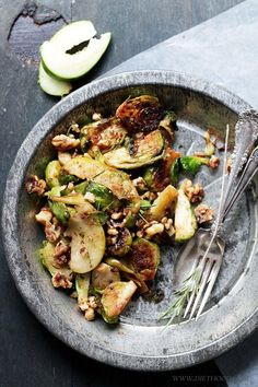 Brussels Sprouts Salad with Apples and Candied Walnuts.