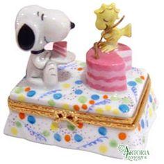 Snoopy & Woodstock Birthday Genuine Limoges Box