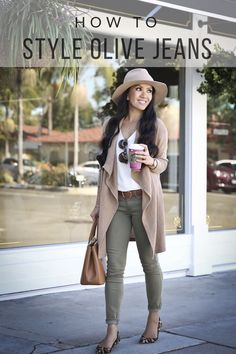 How to style olive jeans for fall - casual fall outfit, camel drapey cardigan, leopard flats, white cami, camel handbag, camel wool hat, petite fashion blog, stylish petite - click the photo for outfit details!
