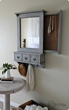 DIY Ideas | Pottery Barn Inspired Wall Mirror with Hidden Storage for Jewelry, Keys, etc ~ FREE Plans!