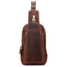 9ede8dcd4df7 Leathario Men s Leather Sling bag Chest bag One shoulder bag Crossbody Bag  Backpack for men