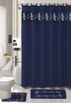 Navy Flower 18-piece Bathroom Set: 2-rugs/mats, 1-fabric Shower Curtain, 12-fabric Covered Rings, 3-pc. Decorative Towel Set - http://www.yourhomestyles.com/?product=navy-flower-18-piece-bathroom-set-2-rugsmats-1-fabric-shower-curtain-12-fabric-covered-rings-3-pc-decorative-towel-set