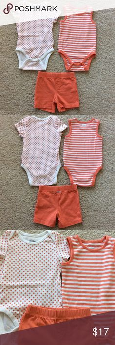 👫Baby GAP onesie and shorts set Baby Gap onesie and shorts set. The star onesie has short sleeves, snaps between the legs, is 100% cotton, size 12-18M. The striped onesie is sleeveless, snaps between the legs, is 100% cotton, 18-24M. Shorts have an elastic waistband, pullon styling, 100% cotton, size 18-24M. All are in excellent condition. GAP Matching Sets
