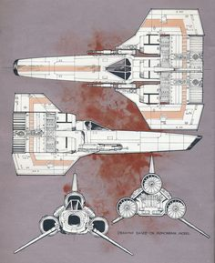 Blueprint artwork by Chuck Boie from Famous Spaceships of Fact and Fantasy 1979