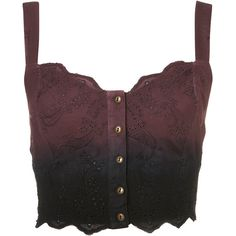 TOPSHOP Dip Dye Broderie Bralet ($30) ❤ liked on Polyvore featuring tops, shirts, bralet, crop tops, burgundy, embroidered crop top, brown crop top, topshop, burgundy top and strappy crop top