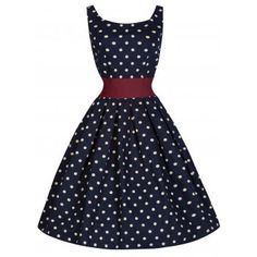 Lana Navy Polka Swing Dress | Vintage Inspired Fashion - Lindy Bop