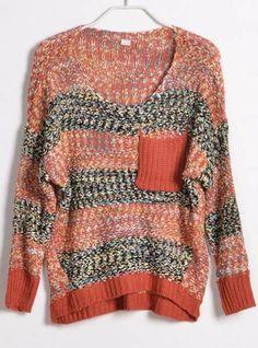 Colourful Striped Round Neck Sweater Orange$40.00