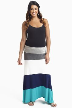 Along with the arrival of summer, our favorite maxi skirt trend has made its appearance in this gorgeous color block maxi skirt. Teal-Colorblock-Maternity-Maxi-Skirt