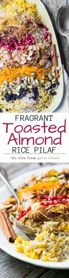 My Fragrant Toasted Almond Rice Pilaf is meant for joyful gatherings ~ this pretty gluten free vegan dish will thrill everybody around your table! Gluten Free Sides Dishes, Vegan Side Dishes, Rice Dishes, Turkish Recipes, Indian Food Recipes, Gluten Free Vegetarian Recipes, Healthy Recipes, Couscous, Easter Side Dishes