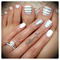 White & Silver Striped Nails. Gelish - Arctic Freeze (White). For the stripes I used Vinyl Tape & Sally Hansen Insta-Dri - Silver Sweep & a little bit of glitter on top. Accent Glitter Nail - Martha Stewart Silver Glitter scrubbed in. #mani #pedi #pedicure