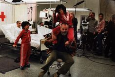 on the set of the Royal Tenenbaums - Wes Anderson