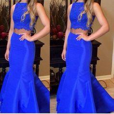 Long Royal Blue Evening Dresses 2 Piece Prom Dress Vestido Longo De Festa 2017