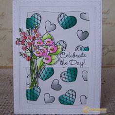 @leahcornelius their flowers and hearts greetings card with the caption celebrate the day!