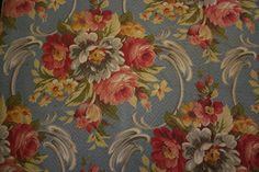 Lovely Vintage 30's Chic Country Floral Print Blue Barkcloth Fabric Upholstery