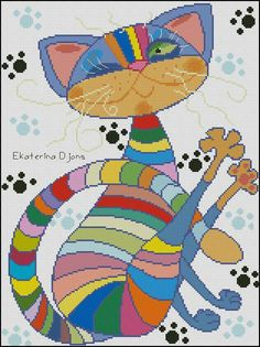 Rainbow Cat MODERN Free Cross Stitch Pattern Chart