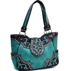 Turquoise and black Rhinestone studded, Leaf design Handbag....$49.99