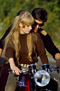 "Marianne Faithfull and Alain Delon on set of ""The Girl on the Motorcycle"", 1968"