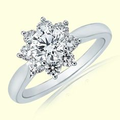 Angara Round Cluster Diamond Daisy Flower Ring