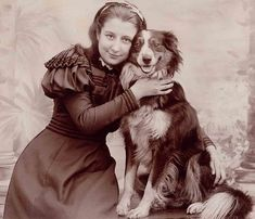 Vintage photo, girl and her dog, both smiling. LOVE IT!!!!!!!