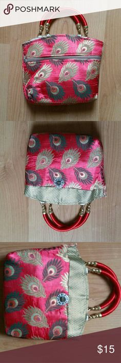Red Hand bag. Made of cotton. Peacock design. Not available in shops. Bags Wallets