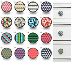 Geometric Pattern Cupboard Cabinet Knobs by PushkaHome on Etsy Cupboard Door Knobs, Cupboard Handles, Knobs And Handles, Kitchen Handles, Drawer Handles, Cabinet Knobs, Wardrobe Door Handles, Wardrobe Doors, Geometric Wall