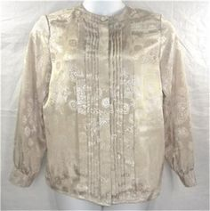 LAURA & JAYNE COLLECTION Blouse 10 Beige Top Floral Polyester Long Sleeve $9.88 #LauraJayneCollection #Blouse