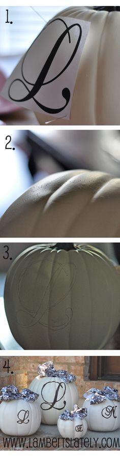 Easy tutorial for monogrammed pumpkins
